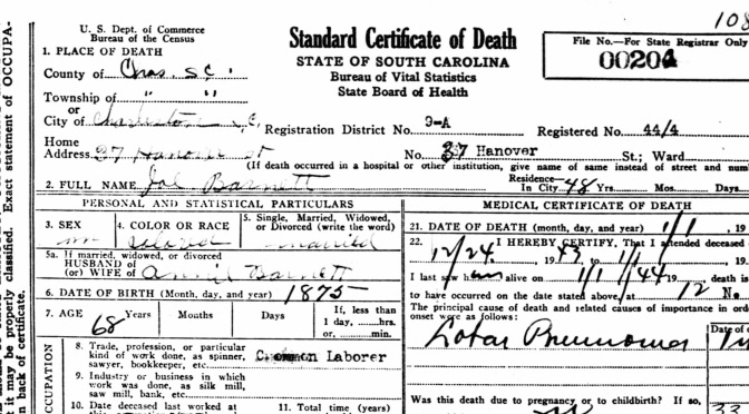 On Reading the Death Certificate
